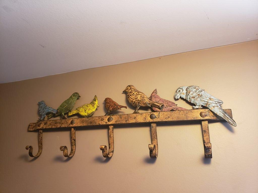Metal birdie wall coat hook rack