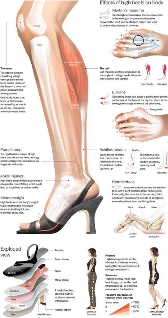 high heels leg diagram